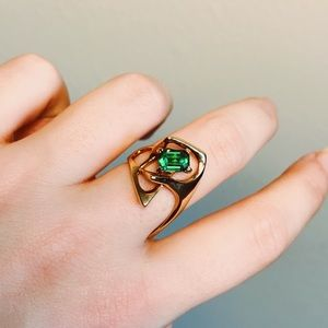 Vintage Green Stone Angular Ring